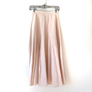 Laura Ashley Peach Linen Silk Full Swing Skirt